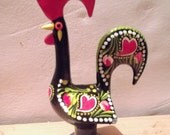 HANDPAINTED LUCKY COCK, Portuguese lucky charm, Barcelos rooster, weddings, hearts, love
