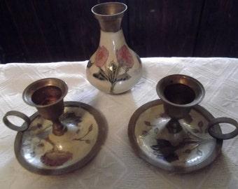 set of vintage BRASS AND CLOISONNE candle holders, vase, home decor