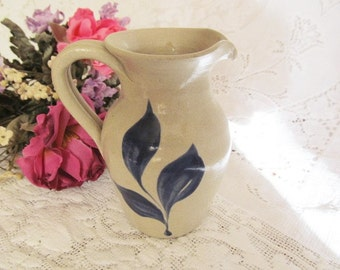 Williamsburg Pottery Salt Glazed Small Pitcher Blue Decoration Earthenware