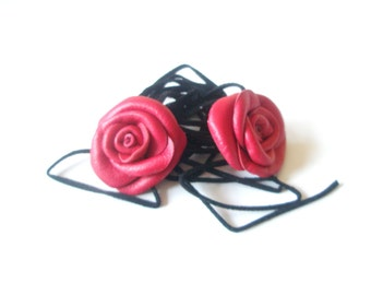 Barefoot Sandals, Red  Leather Rose  Flowers  Anklet  Baby  barefoot sandles