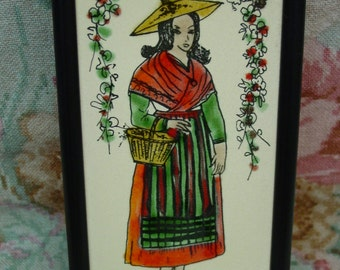 "Vintage Hand Painted Tile Picture from France, ""Provence"" La Roue Vallauris, Lady in Costume"