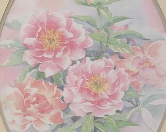 Vintage Pink Peonies Painting, Watercolor painting framed, pink flower painting, pink flower art,