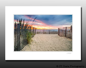 Beach Path Photography, Seascape Sunrise, Sand Dune, Blue and Orange art, Signed Matted Print, Ready for framing