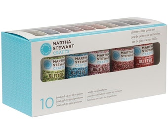Glitter Acrylic Paint Set by Martha Stewart includes - 10 Colors - Acid Free - Archival Quality (131009)