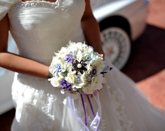 Brooch Bouquet vintage purple and silver with FREE TOSS BRIDESMAID bouquet