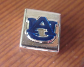 AUBURN-AU Silver Square Slide Charm Bead with Blue Enameled Auburn Emblem for Bracelet Necklace or Chain
