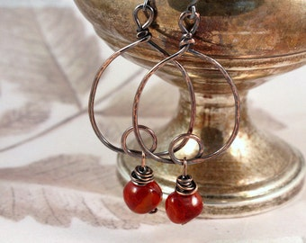 Carnelian and antiqued copper hoop earrings ...gorgeous amber color..