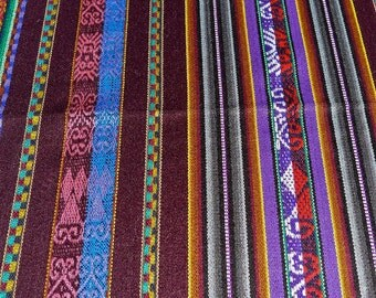 """Ethnic Fabric Ecuador 2 yards  54"""" wide - Finely woven with fringe - tablecloth or project - minimum 2 yards cuts"""