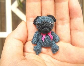 Mini Crochet Black Pug Dog - Teeny Tiny Dollhouse Miniature Pet - Made To Order