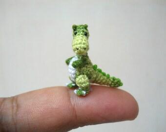 Miniature Green Tyrannosaurus - Dollhouse Miniature Dinosaurs - One Inch Scale - Micro Crochet Dinosaur - Made To Order