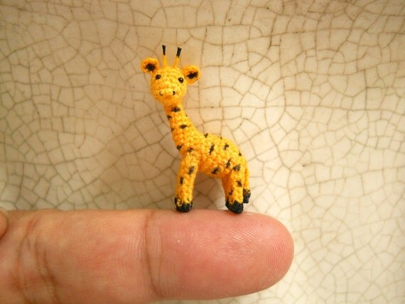 Mini Miniature Crochet Giraffe - Tiny Amigurumi Miniature Thread Animal Doll - Made To Order