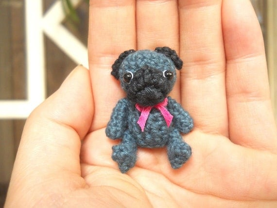 Mini Crochet Black Pug Dog - Teeny Tiny Dollhouse Miniature Pet - Made To Order