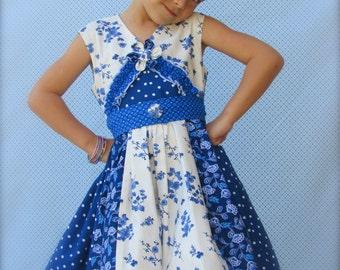 "Girls Dress ""Blue Moon"" Cross Front Stripwork Children's  2t, 3t, 4t, 5, 6, 7"