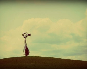 Vintage Landscape Photography,windmill on hill,old time windmill photo,blue sky,serene,simplistic decor,peaceful,summer,old fashioned,aged