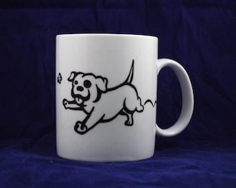 Pitbull Cartoon handpainted mug