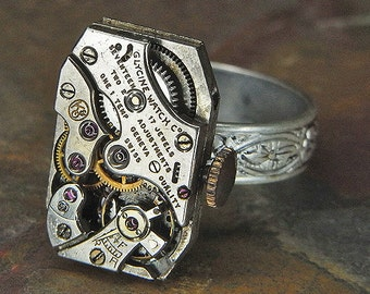 Women's Steampunk Ring Jewelry - Torch SOLDERED - GLYCINE Watch Movement w/ Original Crown & Floral Band - Adjustable - Funky Design
