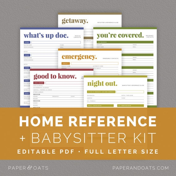 Home Reference Kit Editable Babysitter's Guide By Paperandoats