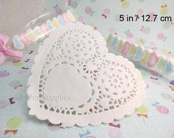 """Paper Heart Doilies Mini Paper Doilies 5"""" / 12.7 cm 50 pcs"""