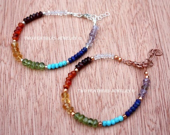 Rainbow Gemstone Bracelet - Sterling Silver - Copper - Quartz Crystal - Garnet - Carnelian Citrine - Peridot - Turquoise - Lapis - Amethyst
