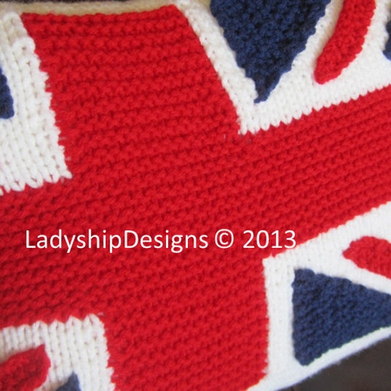 Knitting Pattern Union Jack Cushion Cover : PDF KNITTING PATTERN, Union Jack, British Flag pillow cover, Union jack knitt...