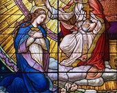 CORONATION OF MARY: 5 x 7 blank card, stained glass art,  Rick Keating Photo, Etsy - Beautiful