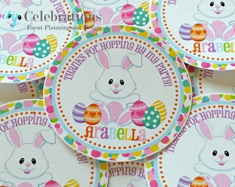 Set of 12 Personalized Favor Tags -Pastel Easter -Thank You Tag -Gift Tag -Baby Shower -Birthday Party -School Treats -Easter Bunny