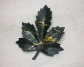 Japanese Damascene Brooch, Maple Leaf circa 1950s, Amita Type