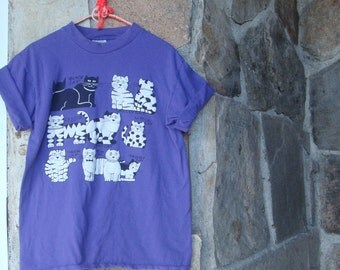 80s PUFF PAINT CAT t shirt vintage oversized tee top kitty cats