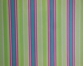 Green Striped Cloth Napkins - Blue Stripe Napkins - Set of Four -  Colorful Lime Green, Pink and Blue Striped Napkins by Pillowscape Designs