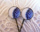 Blue Dandelion Hair Clips Bobby Pins.