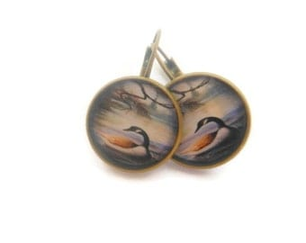 Wild Duck On A Lake  Earrings