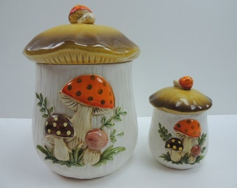 Vintage Mushroom Canisters Kitchen Ceramic Canister Set Storage