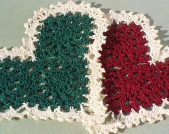 2 Crocheted Heart Doilies