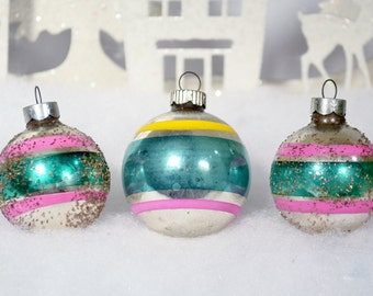 Pink & Green Christmas Ornaments Vintage Shiny Brite Striped Glitter Small Set of 3 Three 1950's