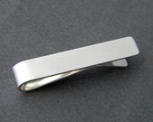 Skinny Tie - Sterling Silver Personalized Hand Stamped Tie Bar Clip