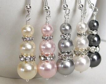 Pearl Drop Bridal Earrings. Bridal Jewelry. Bridesmaids Jewelry. Wedding Jewelry. Bridesmaid Earrings