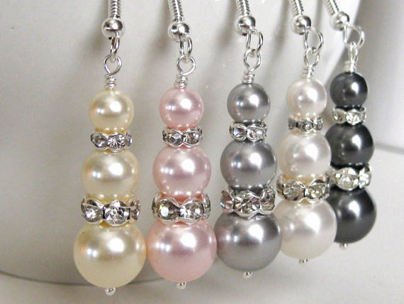 Pearl Drop Bridal Earrings. Bridal Jewelry. Bridesmaids Jewelry. Wedding Jewelry. Bridesmaid Earrings