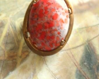 Vintage Old Brass Deco Czech Glass UPCYCLED Pin Brooch