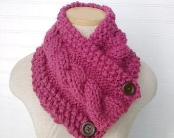 Raspberry Chunky Knitted Scarf, Cowl Neckwarmer, Pink