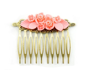 Flower Hair Comb - Bridal Accessories Flower Hair Comb - Bridesmaids Gifts Ideas - Blue, Skyblue, Coral, Pink, Ivory