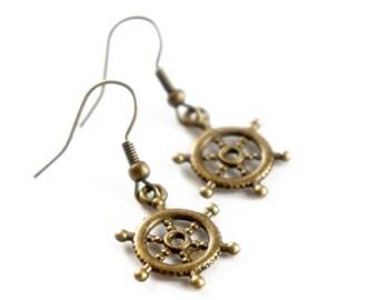 Antiqued Brass Ship Wheel Dangle Earrings - C0004