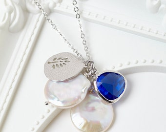Silver Sapphire and Pearl Cluster Necklace