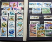 Lot of 216 soviet stamps in Album:USSR space programm,animal,transport,art,sport