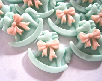 Pink on Green Rocking Horse Cobochon Resin Buttons Lot of 5