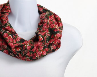 Short INFINITY scarf Delicate Floral coral, Pink, Red and a hint of Mustard on Black ~ SK199-S5