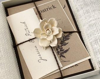 "Rustic Burlap Boxed Wedding Invitations, Enchanted Woodland Wedding ""Ivory Romance Box Invite"" Deposit - NEW LOWER PRICE!"