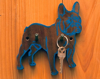 i love my dog Key Hook, French Bulldog, Unique Wall Hook, Dog Leash Hook, Reclaimed Wood