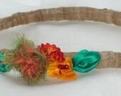 HOLIDAY GIFT SALE!  Silk Elastic Child's Headband Hair Fascinator Homemade Christmas Gift Raw Silk Band Orange Flower Green Leaves