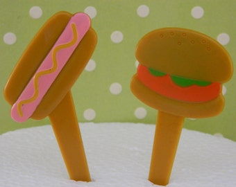 Hot Dog and Hamburger Picks / Cupcake Toppers / Decorations/ Summer / Cookout