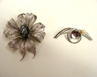 TEMP REDUCED was 42.22 2 vintage 50s Sterling Silver Brooches Filigree Cannetille Flower Pin w/ Hematite Cabochon & cc Swirl Leaf with Pearl